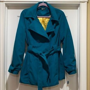 Teal pea coat with belt